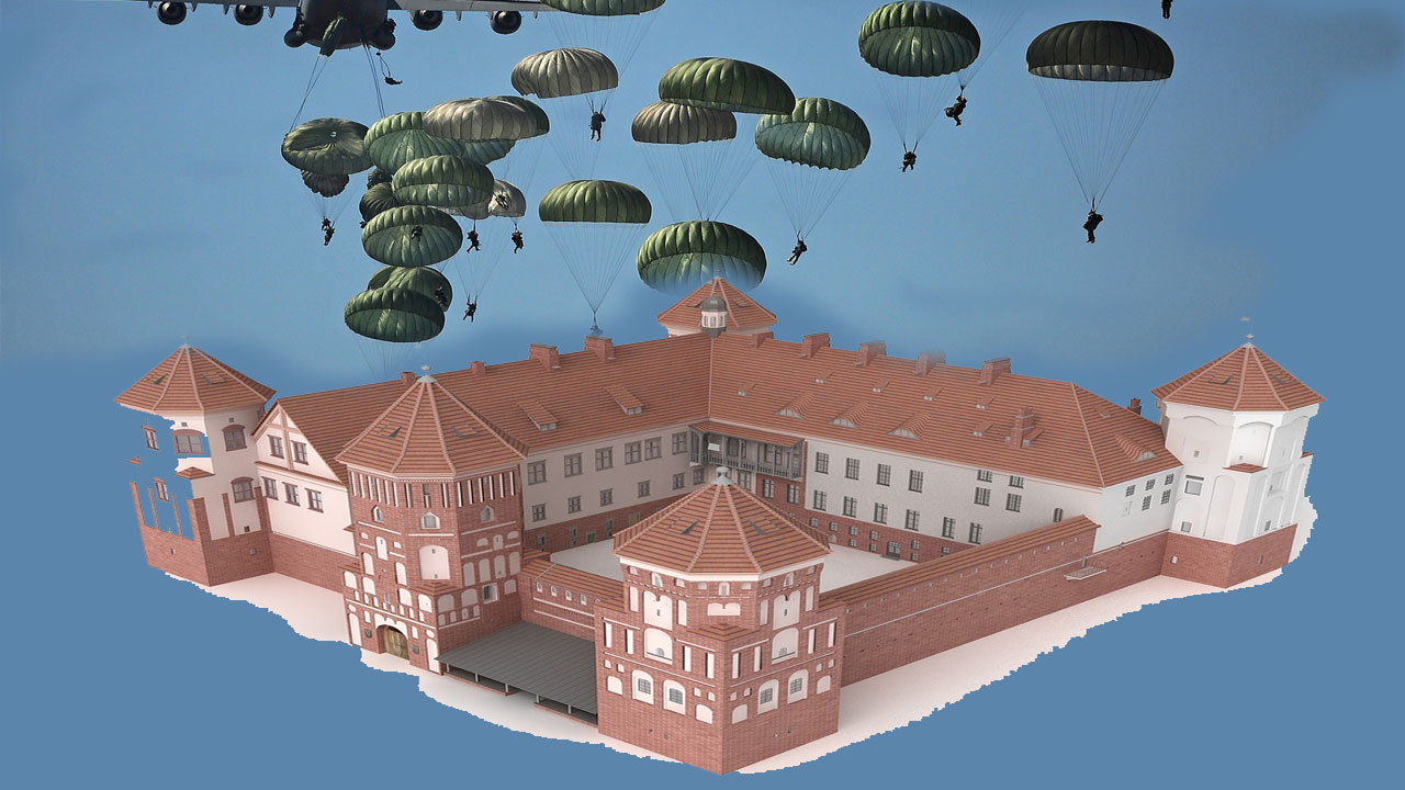 image of fortified castle, with attackers descending upon it by using parachutes