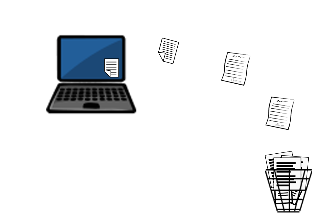Illustration of files moving from laptop to trash can