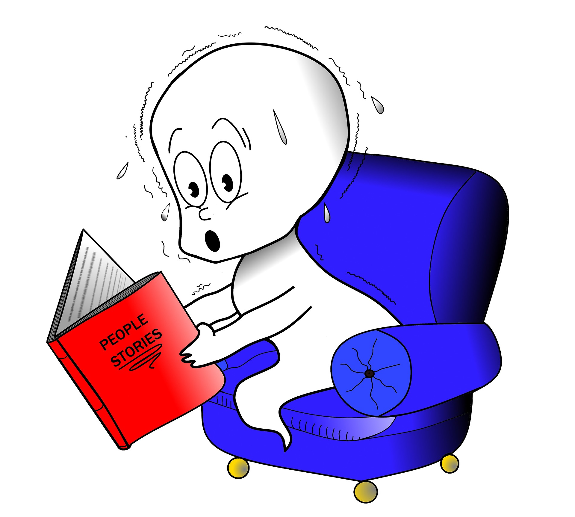 image of ghost reading scary story