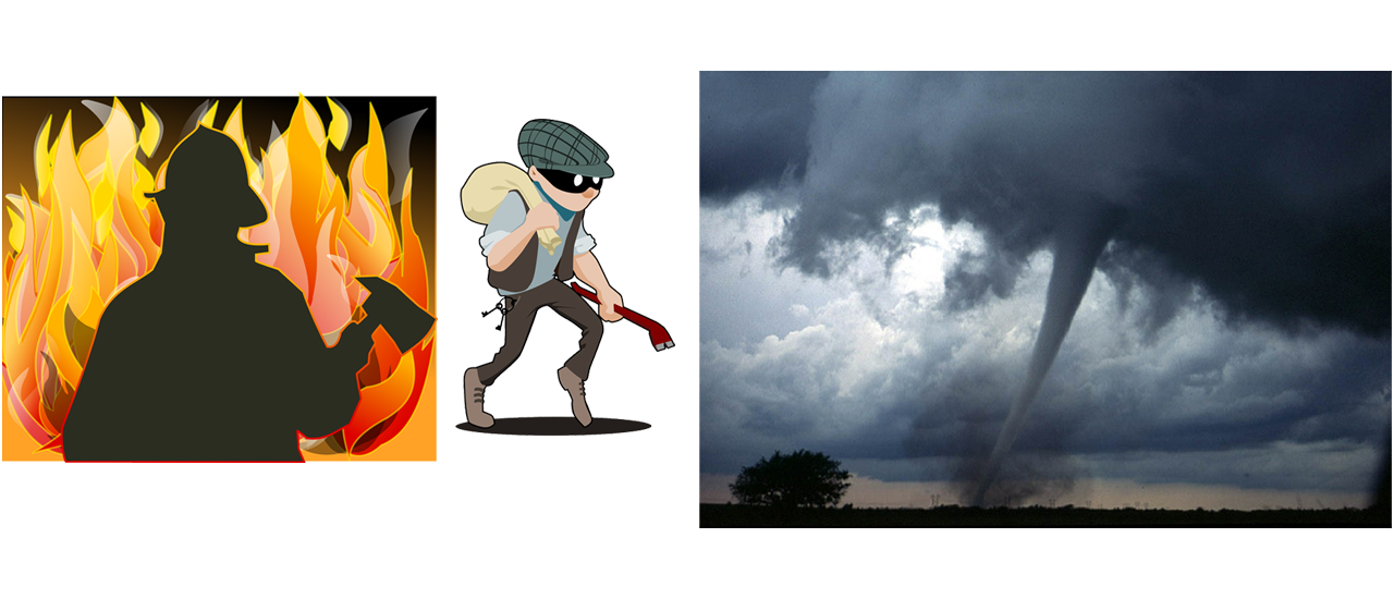 Images depicting Fire, Burglar, and Tornado