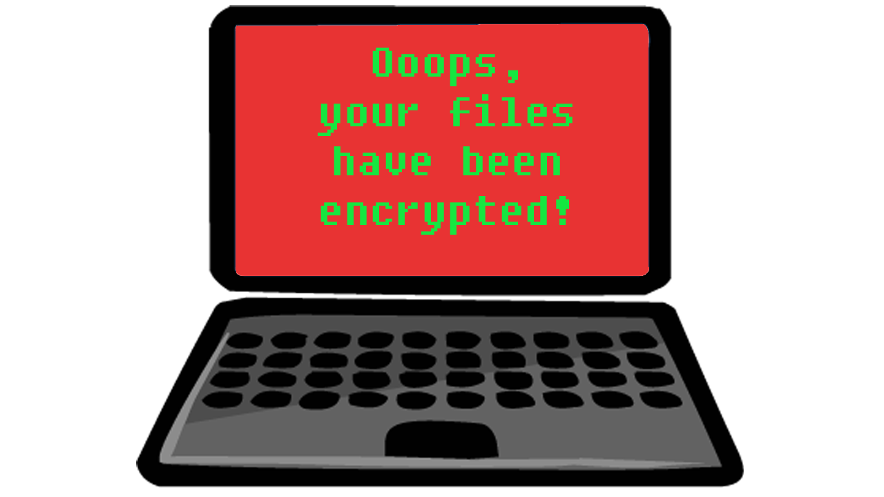 image of computer with message on screen, saying 'Ooops, your files have been encrypted!