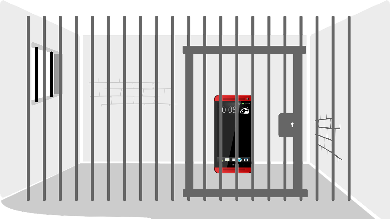 Image of cellphone locked in jail cell