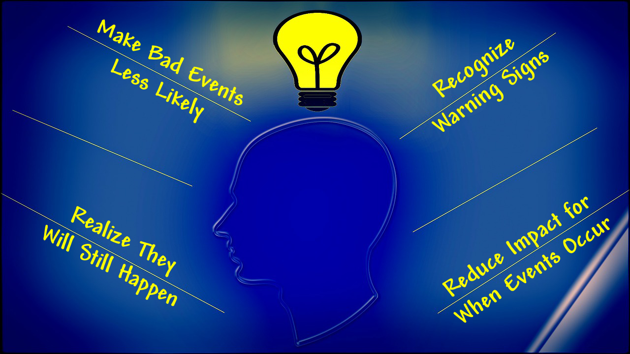 image of lightbulb indicating bright idea, with four bullet points providing four step security solution - see 11 January post